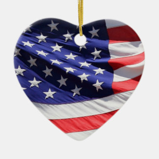 American stars and stripes US flag ornament, gift Ceramic Heart Decoration