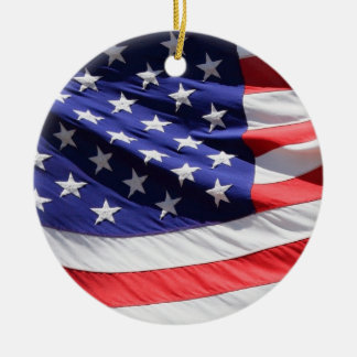 American stars and stripes US flag ornament, gift Round Ceramic Decoration