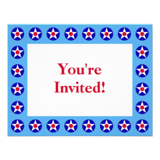 American Stars Blue Fourth of July Invitation