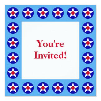 American Stars Blue Fourth of July Invitation