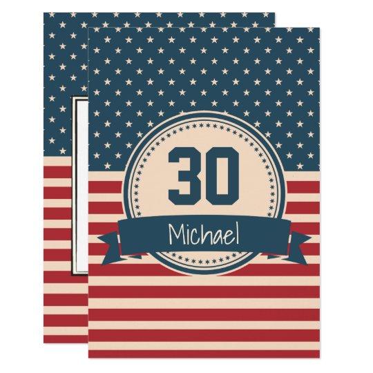 American stars stripes flag birthday invitation