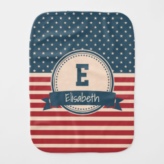 American stars stripes flag monogram name baby baby burp cloths