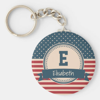 American stars stripes flag monogram name key ring