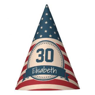 American stars stripes patriotic flag birthday party hat