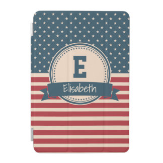 American stars stripes patriotic flag monogram iPad mini cover
