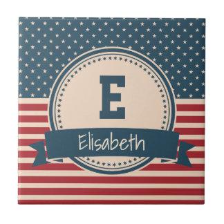 American stars stripes patriotic flag monogram small square tile
