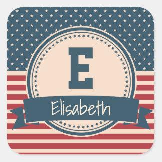 American stars stripes patriotic flag monogram square sticker