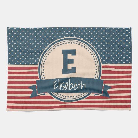 American stars stripes patriotic flag monogram tea towel