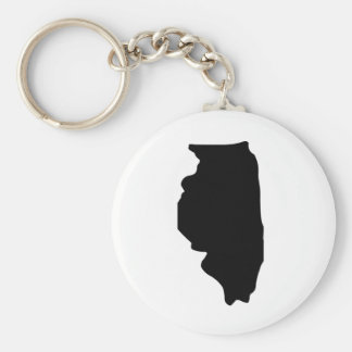 American State of Illinois Basic Round Button Key Ring