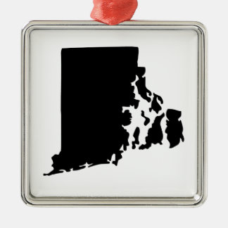 American State of Rhode Island Silver-Colored Square Decoration