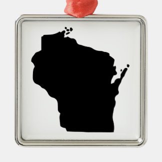 American State of Wisconsin Silver-Colored Square Decoration