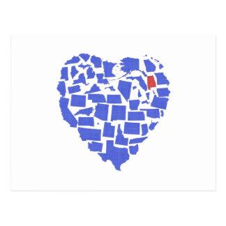 American States Heart Mosaic Alabama Blue Postcard