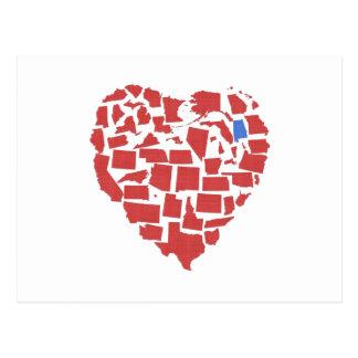 American States Heart Mosaic Alabama Red Postcard