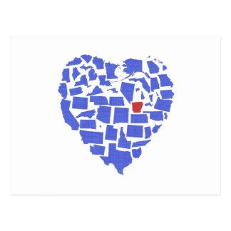 American States Heart Mosaic Arkansas Blue Postcard