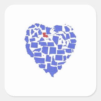 American States Heart Mosaic Louisiana Blue Square Sticker