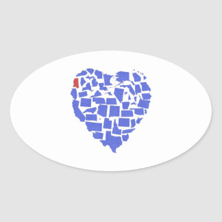 American States Heart Mosaic Mississippi Blue Oval Sticker
