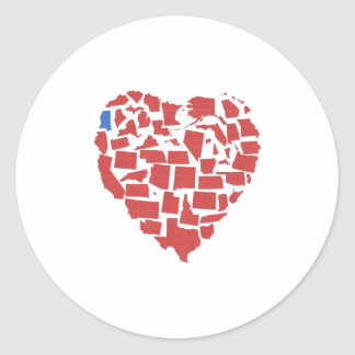American States Heart Mosaic Mississippi Red Round Sticker