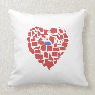 American States Heart Mosaic North Dakota Red Cushion