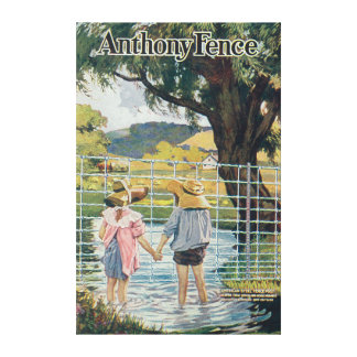 American Steel & Wire Co Fence Pond and Kids Canvas Print