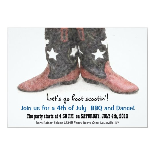 American Style Country Boots 4th of July Party Card