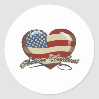 American Sweetheart Heart Round Stickers