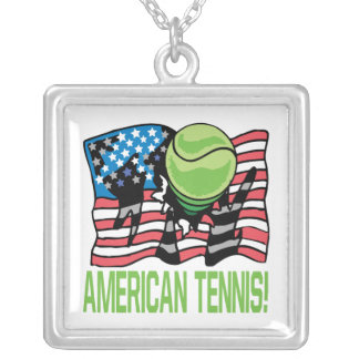 American Tennis Square Pendant Necklace