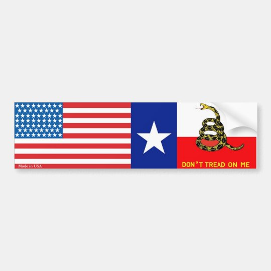 American & Texas Gadsden Flag Bumper Sticker