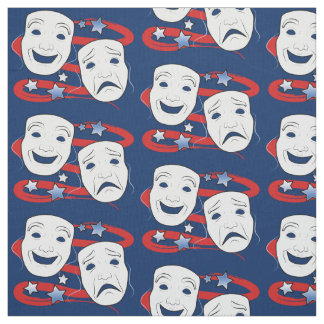 American Theater with Drama Masks Fabric