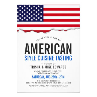 American Themed Cuisine | Party Flag White Invite