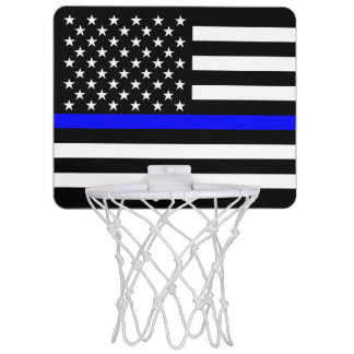 American Thin Blue Line Graphic Decor Mini Basketball Hoop
