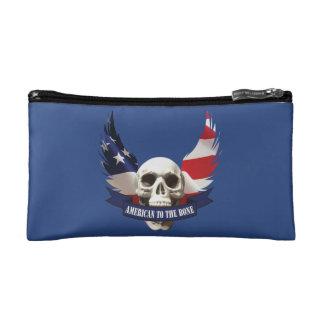 American to the Bone Skull Cosmetic Bag