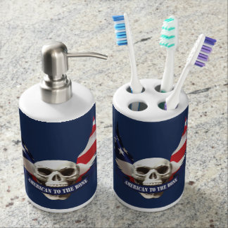 American to the Bone Skull Soap Dispenser And Toothbrush Holder