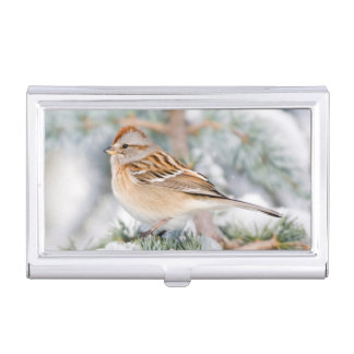 American Tree Sparrow in winter Business Card Holder