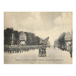 American troops in Paris 4th July 1918 Postcards