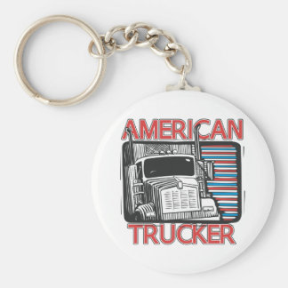 American Trucking Basic Round Button Key Ring