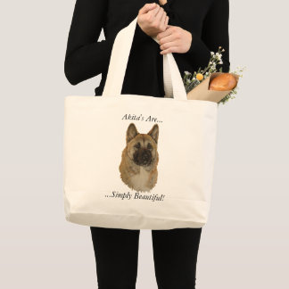 American type white akita dog portrait realist art large tote bag