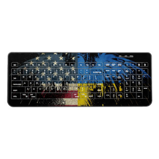 American Ukrainian Flag Wireless Keyboard
