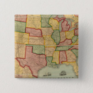American Union Railroad Map of The United States 15 Cm Square Badge