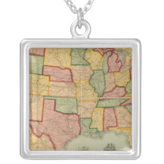 American Union Railroad Map of The United States Silver Plated Necklace