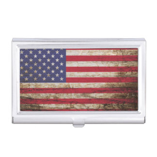 American United States Rustic Flag Business Card Holder