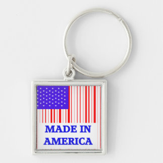 American UPC Silver-Colored Square Key Ring
