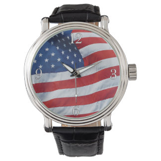 American US Flag Patriotic Wristwatch