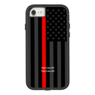American US Flag Thin Red Line Your Text on Case-Mate Tough Extreme iPhone 8/7 Case