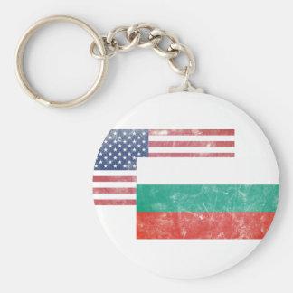 American/USA and Bulgarian Vintage Flag Key Ring