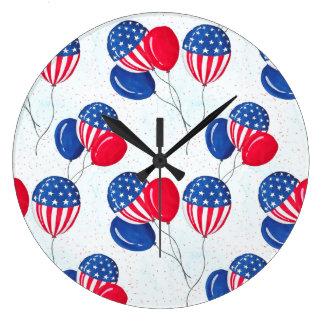 American USA Flag Balloon Patriotic July 4th Wallclock