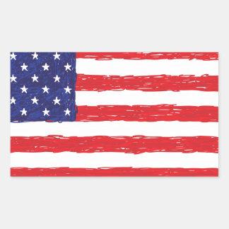 American USA Flag *Hand Sketch* Us Flag Rectangular Sticker