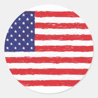 American USA Flag *Hand Sketch* Us Flag Round Sticker