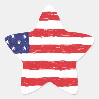 American USA Flag *Hand Sketch* Us Flag Star Sticker