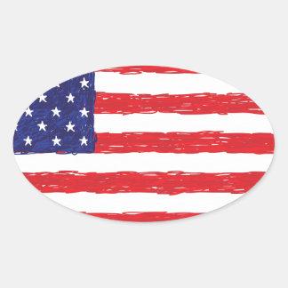 American USA Flag *Hand Sketch* Us Flag Oval Sticker