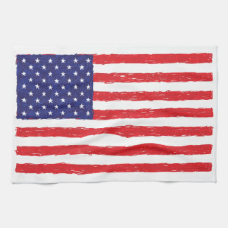 American USA Flag *Hand Sketch* Us Flag Tea Towel